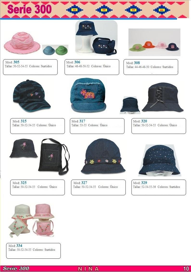 gorras y sombreros gorras baratas bufandas y guantes CATALOGO PRIMAVERA VERANO SERIE 300 GORRAS NIÑA