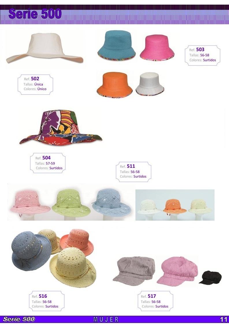 gorras y sombreros gorras baratas bufandas y guantes CATALOGO PRIMAVERA VERANO SERIE 500 SOMBREROS MUJER