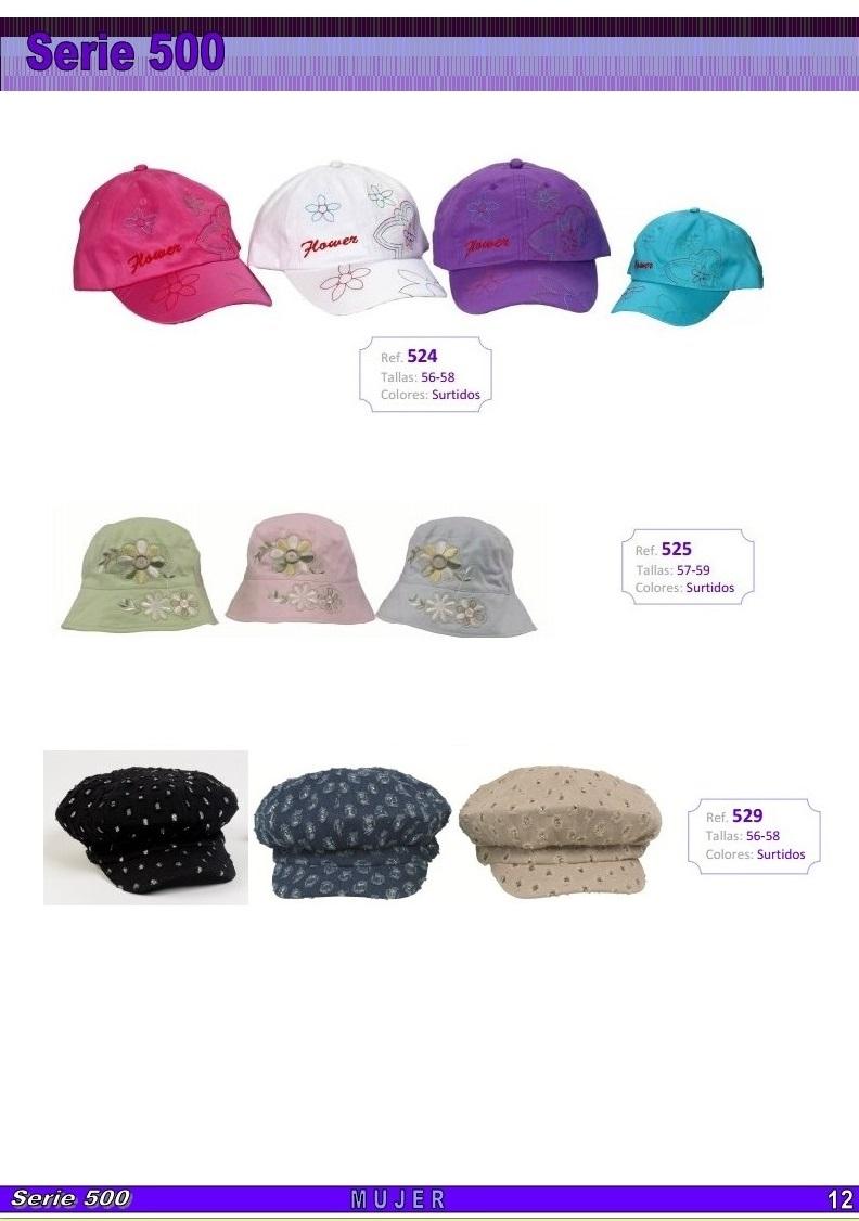 gorras y sombreros gorras baratas bufandas y guantes CATALOGO PRIMAVERA VERANO SERIE 500 GORROS MUJER
