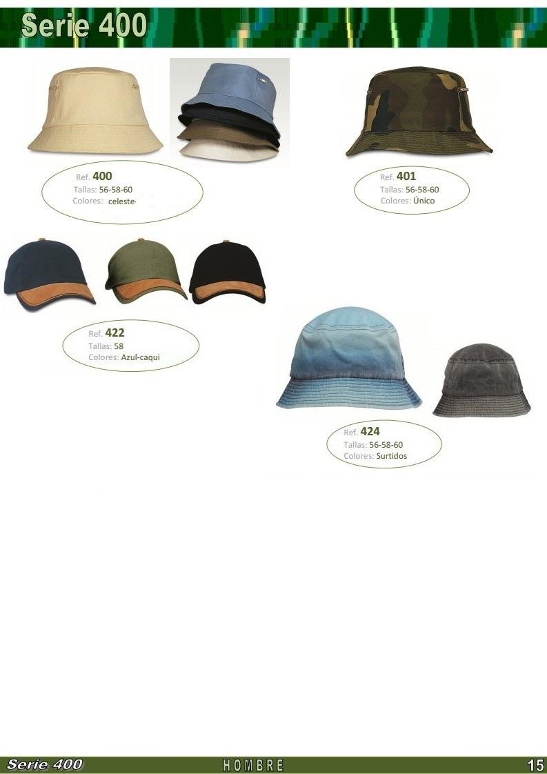 gorras y sombreros gorras baratas bufandas y guantes CATALOGO PRIMAVERA VERANO SERIE 400 GORROS HOMBRE