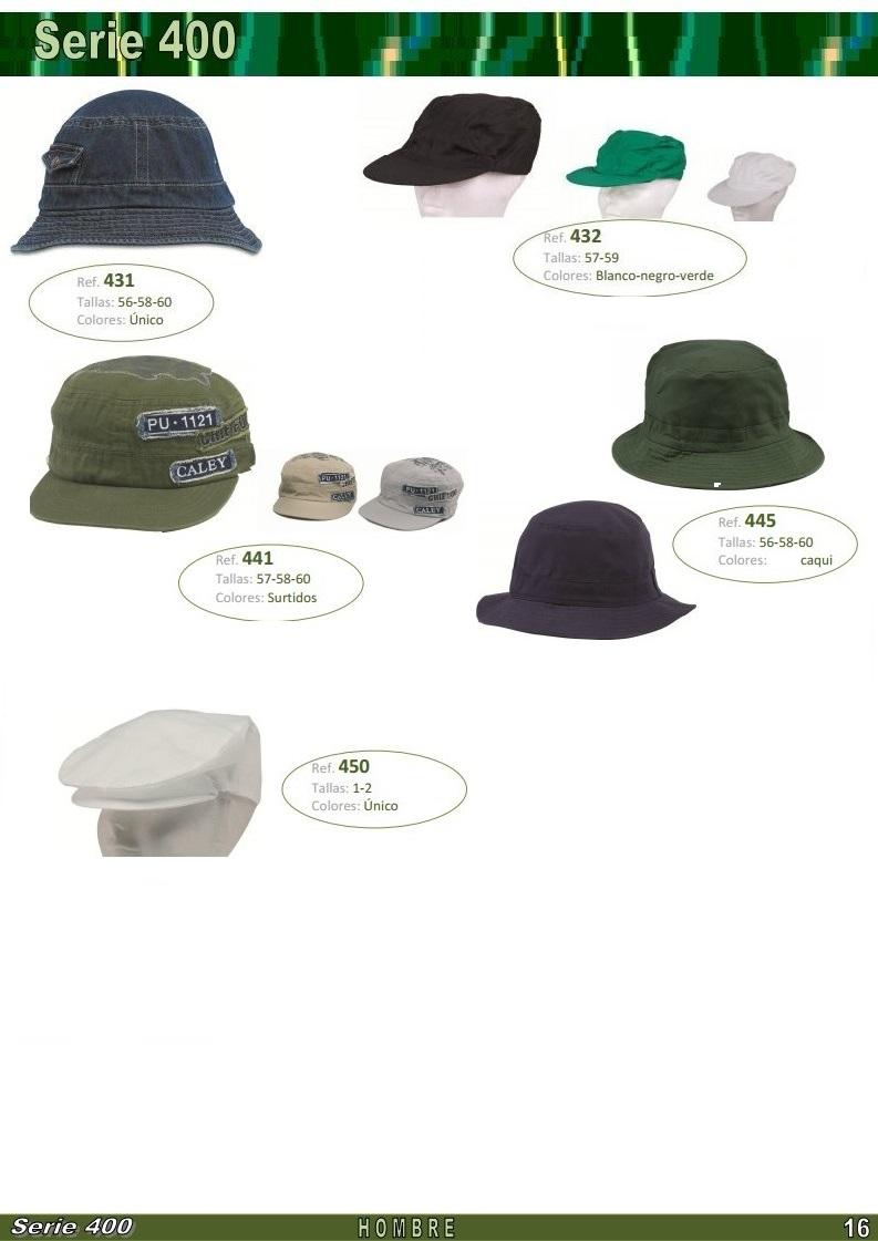 gorras y sombreros gorras baratas bufandas y guantes CATALOGO PRIMAVERA VERANO SERIE 400 GORRAS HOMBRE