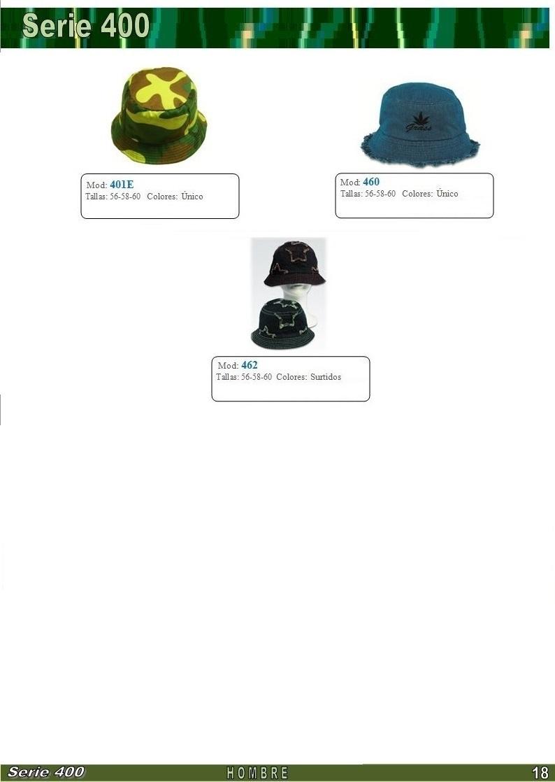 gorras y sombreros gorras baratas bufandas y guantes CATALOGO PRIMAVERA VERANO SERIE 400 SOMBREROS HOMBRE