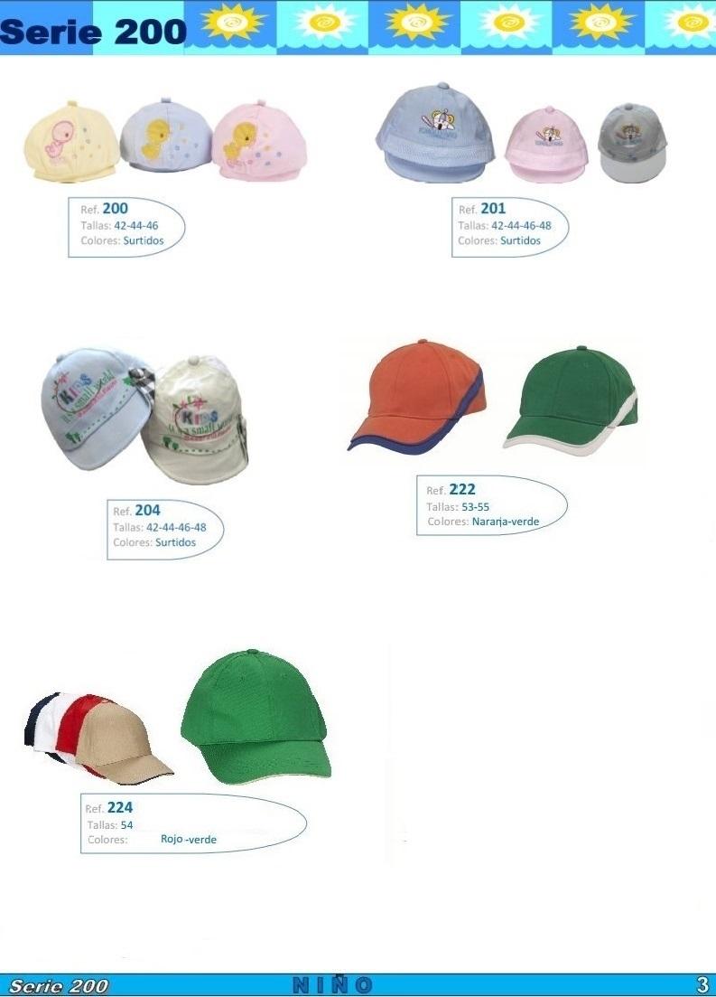 gorras y sombreros gorras baratas bufandas y guantes CATALOGO PRIMAVERA VERANO SERIE 200 NIÑO