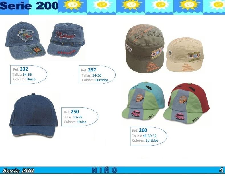 gorras y sombreros gorras baratas bufandas y guantes CATALOGO PRIMAVERA VERANO SERIE 200 GORRAS VARIADAS NIÑO