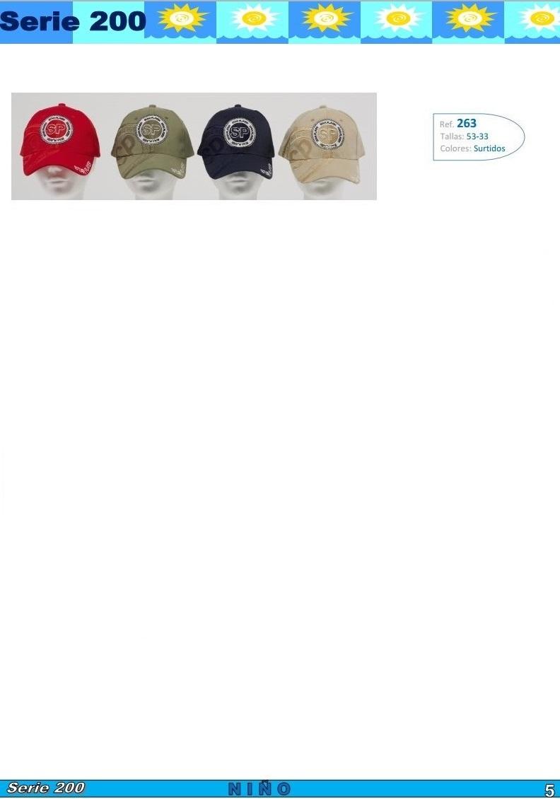 gorras y sombreros gorras baratas bufandas y guantes CATALOGO PRIMAVERA VERANO SERIE 200 GORROS NIÑO