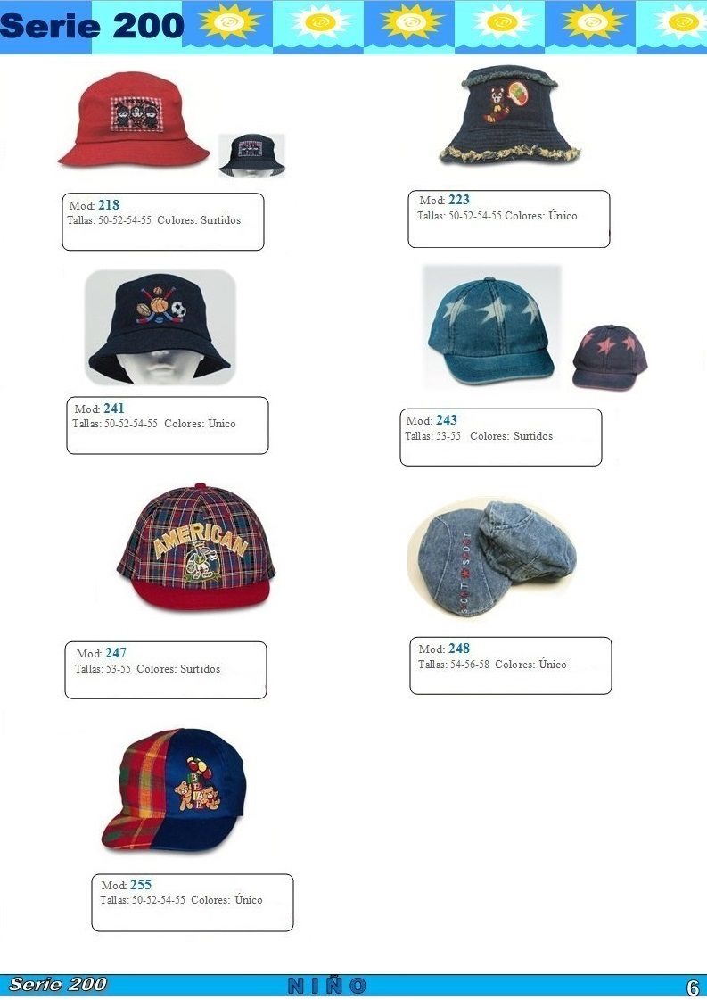 gorras y sombreros gorras baratas bufandas y guantes CATALOGO PRIMAVERA VERANO SERIE 200 GORRAS NIÑA