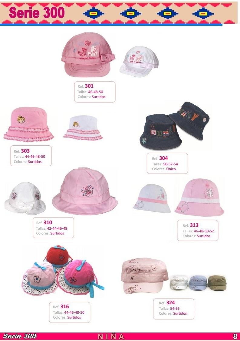 gorras y sombreros gorras baratas bufandas y guantes CATALOGO PRIMAVERA VERANO SERIE 300 GORROS NIÑA